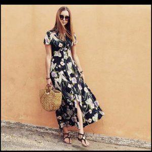 Zara Womens Long Floral Maxi Dress Buttoned L Navy